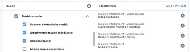 Adverteren Youtube onderwerp muziek uitsluiten