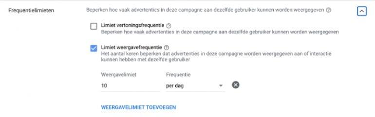 Adverteren YouTube frequentielimieten instellen