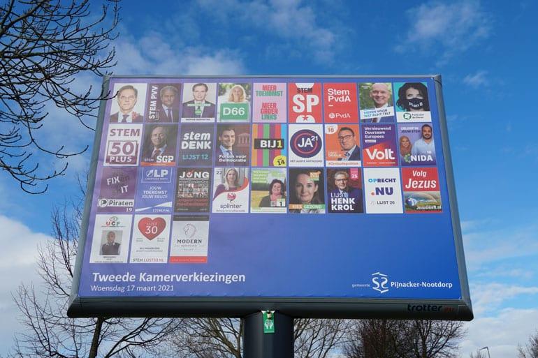 Verkiezingsbord in Nederland.