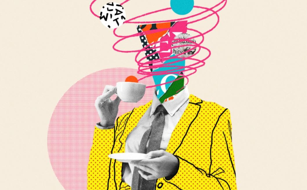 Tekening van een persoon die koffie drinkt.