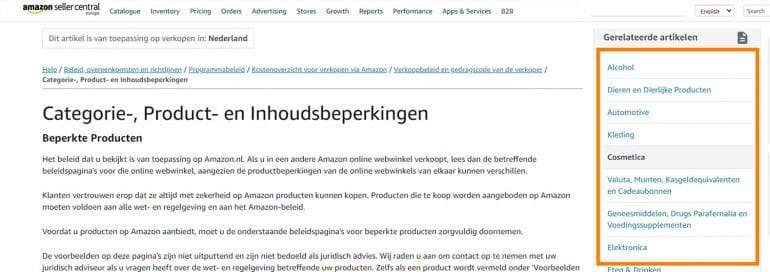 Screenshot van de Amazon seller central: Category, Product, and Content Restrictions.