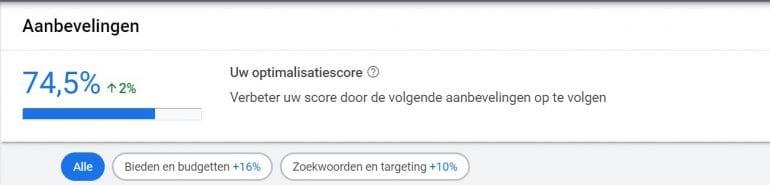 Screenshot van de optimalisatiescore in Google Ads.
