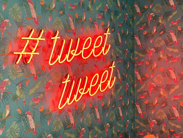 Tweet op een muur.