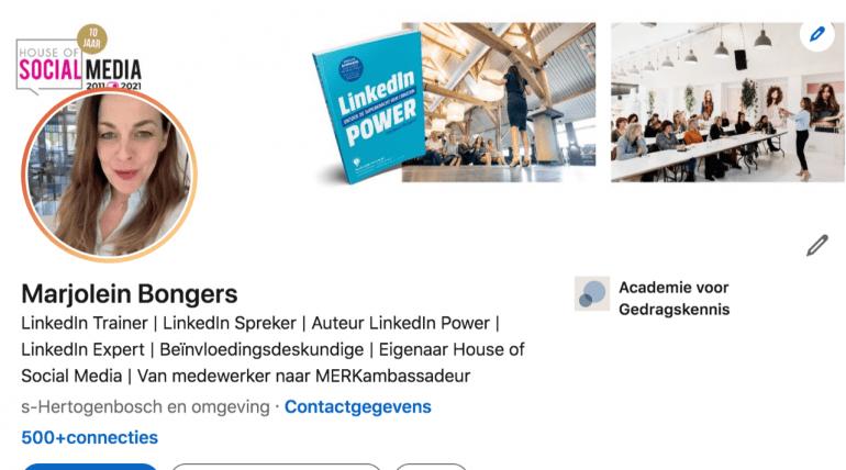 Screenshot van een LinkedIn-profiel met oranje rand.