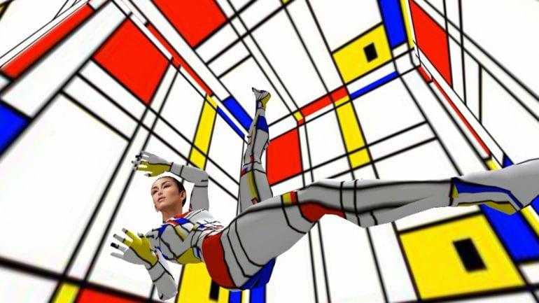Virtuele wereld in Mondriaan-stijl.