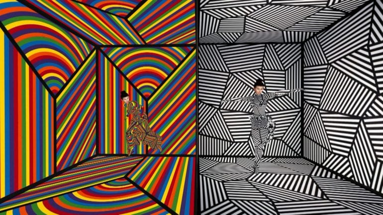 Virtuele wereld in kleur en zwartwit.