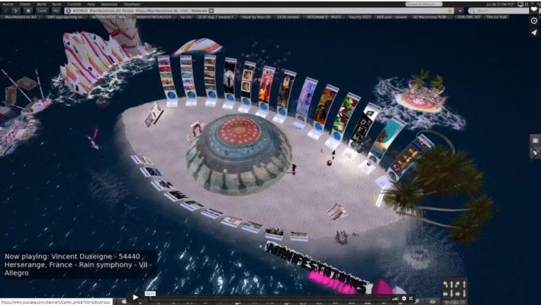 Manifestations-eiland in de vorm van een oog.