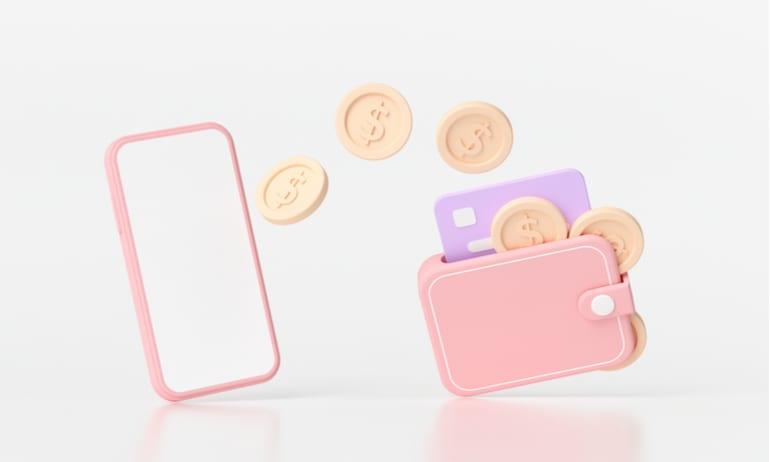 Geld op mobiel en in portemonnee.