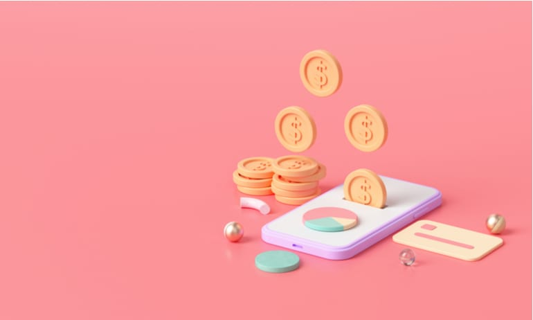 Geld op mobiele telefoon.